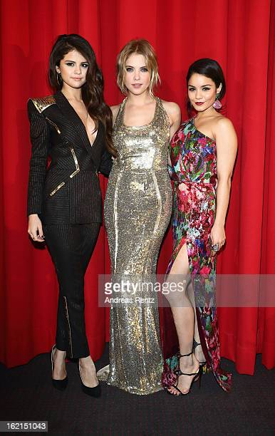 Selena Gomez Ashley Benson and Vanessa Hudgens attend the 'Spring Breakers' Germany premiere at CineStar on February 19 2013 in Berlin Germany