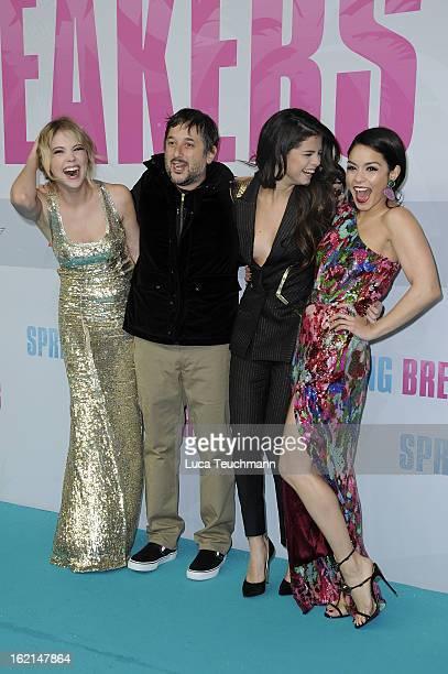 Selena Gomez Ashley Benson Harmony Korine and Vanessa Hudgens attend the premiere of 'Spring Breakers' at Sony Center on February 19 2013 in Berlin...