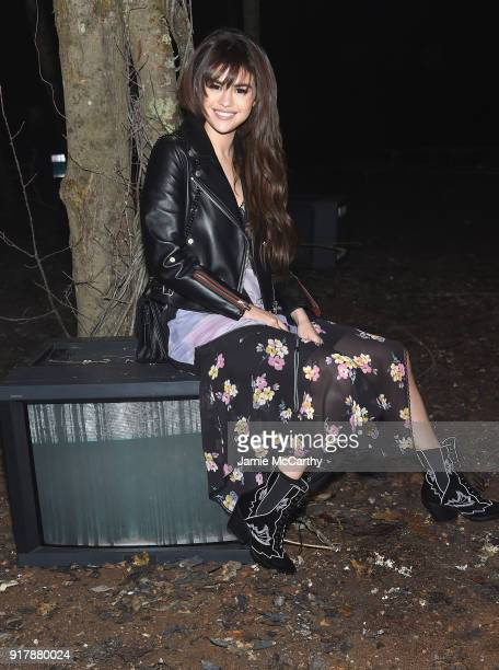 Selena Gomez attends Coach 1941 during New York Fashion Week at Basketball City on February 13 2018 in New York City