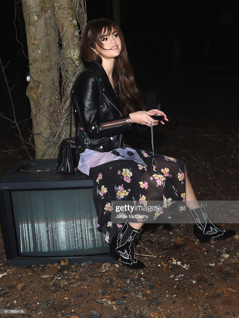 Selena Gomez attends Coach 1941 during New York Fashion Week at Basketball City on February 13, 2018 in New York City.