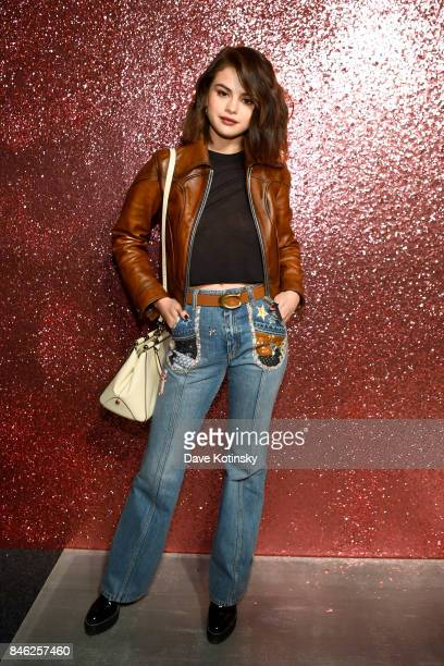 Selena Gomez attends Coach Spring 2019 fashion show during New York Fashion Week at Basketball City Pier 36 South Street on September 12 2017 in New...