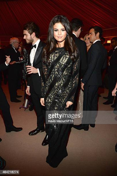 Selena Gomez attends the 2015 Vanity Fair Oscar Party hosted by Graydon Carter at the Wallis Annenberg Center for the Performing Arts on February 22...