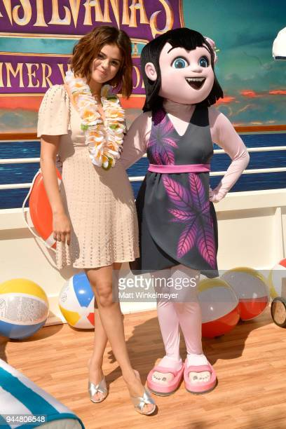 Selena Gomez attends the photo call for Sony Pictures' 'Hotel Transylvania 3 Summer Vacation' at Sony Pictures Studios on April 11 2018 in Culver...