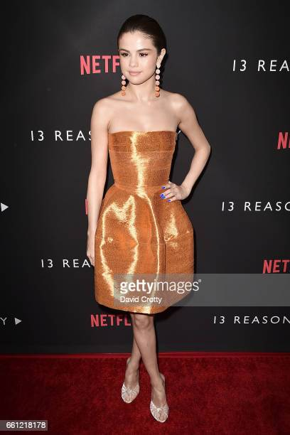 Selena Gomez attends the premiere of Netflix's '13 Reasons Why' at Paramount Pictures on March 30 2017 in Los Angeles California