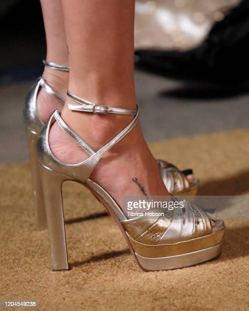 Selena Gomez fashion detail attends the 2020 Hollywood Beauty Awards at The Taglyan Complex on February 06 2020 in Los Angeles California