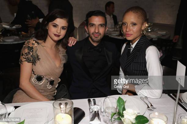 Selena Gomez, Founder and Editor-in-Chief of The Business of Fashion Imran Amed and Adwoa Aboah attend the #BoF500 party during New York Fashion Week...