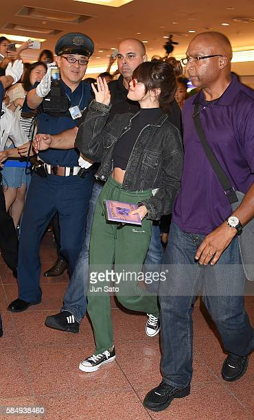Selena Gomez is seen arriving at Haneda Airport on August 1 2016 in Tokyo Japan