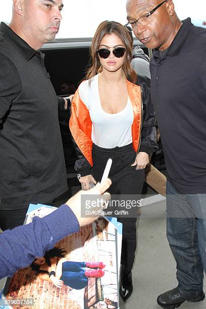 Selena Gomez is seen at LAX on April 07 2016 in Los Angeles California
