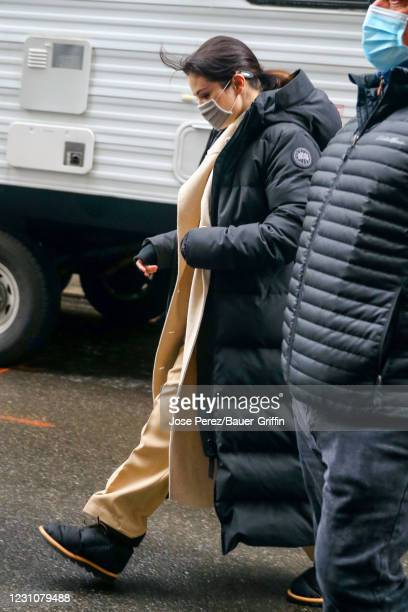 Selena Gomez is seen at the film set of the 'Only Murders in the Building' TV Series on February 10, 2021 in New York City.