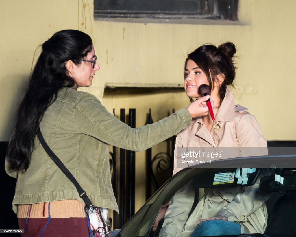 Selena Gomez is seen on location filming Woody Allen Untitled Movie on September 11, 2017 in New York, New York.