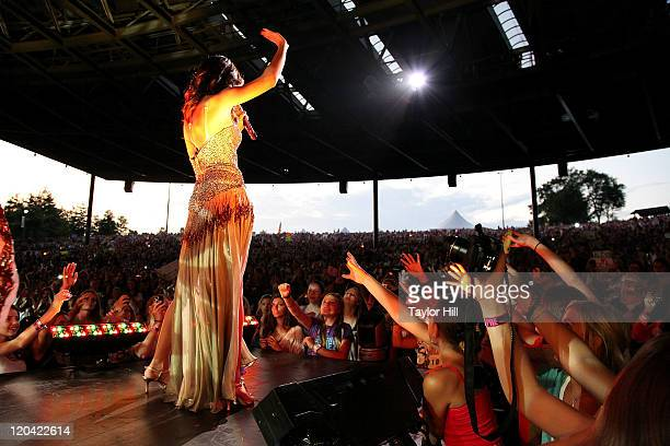 Selena Gomez performs at Bethel Woods Art Center on August 5 2011 in Bethel New York