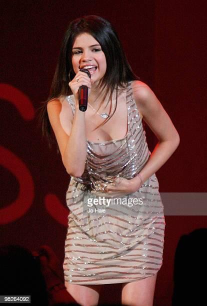 Selena Gomez performs at the 02 Shepherd's Bush Empire on April 5 2010 in London England