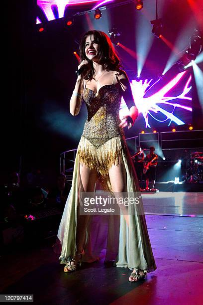 Selena Gomez performs at the DTE Energy Center on August 10, 2011 in Clarkston, Michigan.