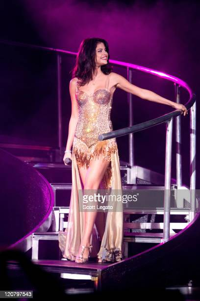Selena Gomez performs at the DTE Energy Center on August 10 2011 in Clarkston Michigan