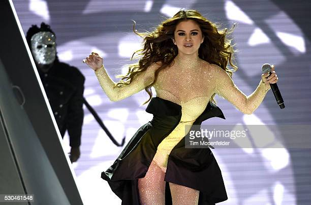 Selena Gomez performs during her 'Revival Tour' at Sleep Train Arena on May 10 2016 in Sacramento California