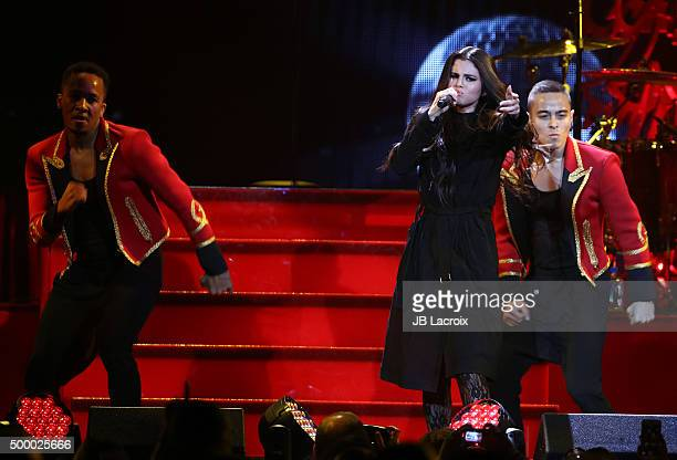 Selena Gomez performs during the KIIS FMÂs Jingle Ball 2015 presented by Capital One on December 4 2015 in Los Angeles California