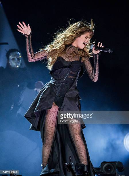 Selena Gomez performs during the Revival tour at The Palace of Auburn Hills on June 25, 2016 in Auburn Hills, Michigan.