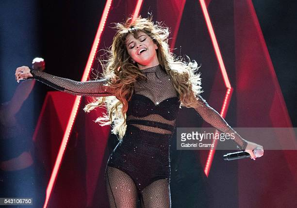 Selena Gomez performs during the Revival tour at United Center on June 25 2016 in Chicago Illinois