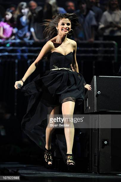 Selena Gomez performs during Z100's Jingle Ball 2010 at Madison Square Garden on December 10 2010 in New York City
