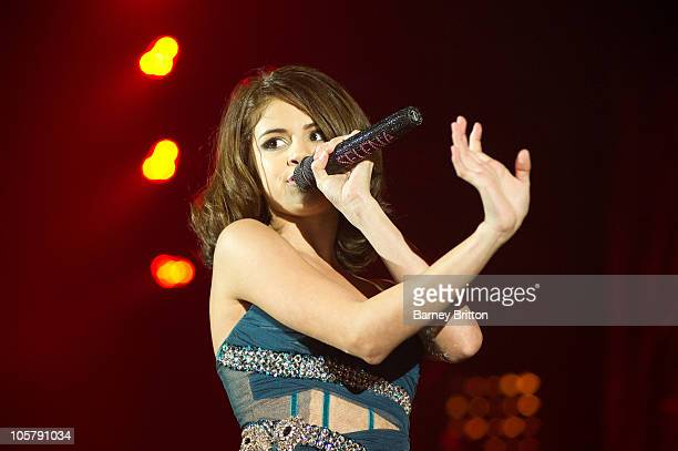 Selena Gomez performs on stage at Hammersmith Apollo on October 20 2010 in London England