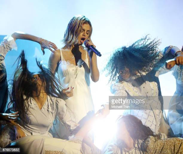Selena Gomez performs onstage during the 2017 American Music Awards held at Microsoft Theater on November 19 2017 in Los Angeles California