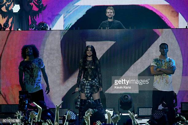 Selena Gomez performs onstage with Zedd during Z100's iHeartRadio Jingle Ball 2015 at Madison Square Garden on December 11 2015 in New York City
