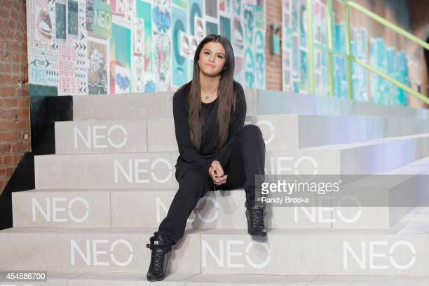 Selena Gomez poses for photos near the runway at Adidas Neo during MercedesBenz Fashion Week Spring 2015 at The Waterfront on September 3 2014 in New...