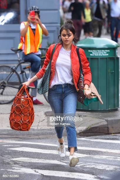 Selena Gomez seen at a Woody Allen film set in West Village on September 19 2017 in New York City