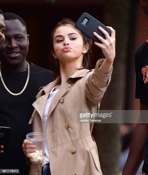 Selena Gomez seen on location for Woody Allen's untitled movie in Greenwich Village on September 21 2017 in New York City