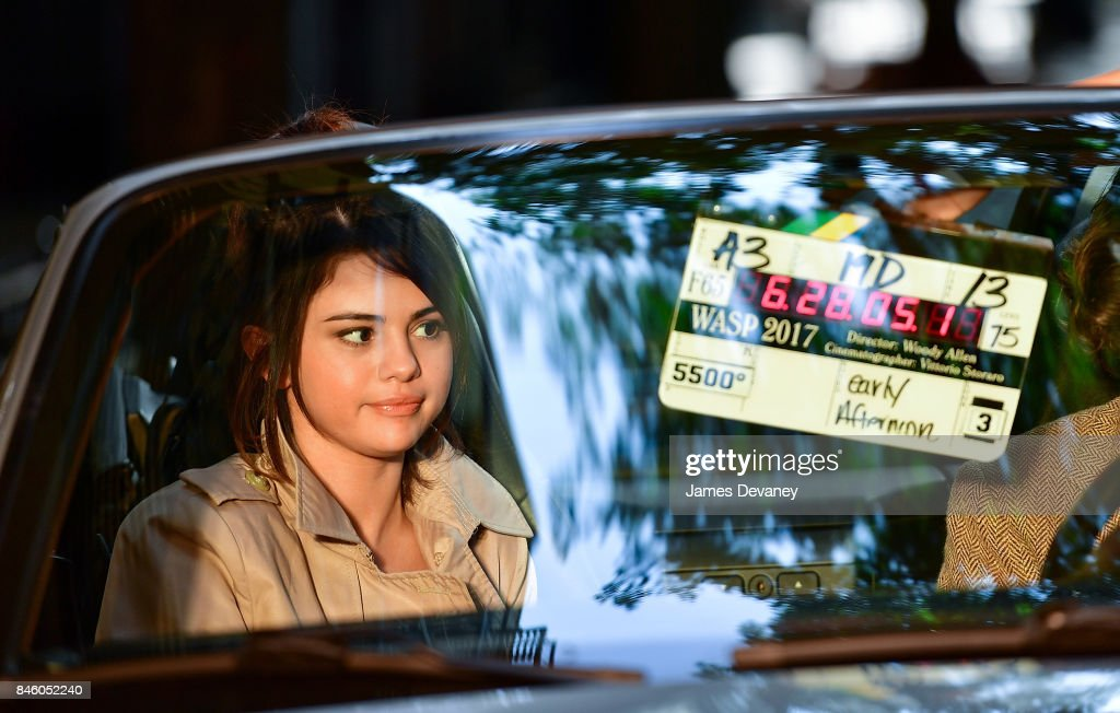Selena Gomez seen on location for Woody Allen's untitled movie on September 11, 2017 in New York City.