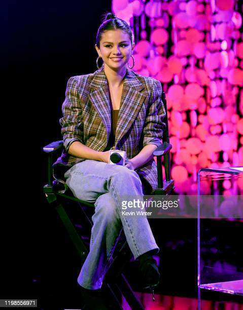 Selena Gomez speaks on stage at the iHeartRadio Album Release Party with Selena Gomez at iHeartRadio Theater on January 09 2020 in Burbank California