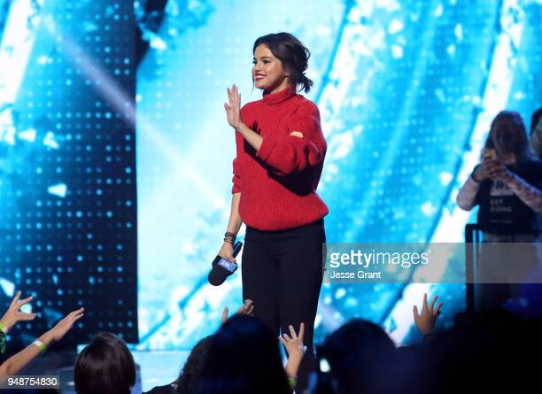 Selena Gomez speaks onstage at WE Day California at The Forum on April 19 2018 in Inglewood California
