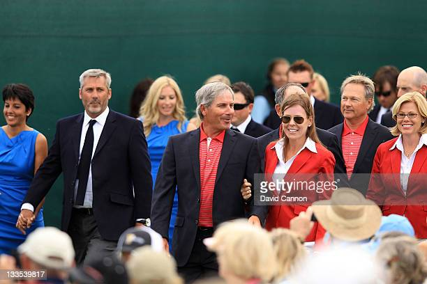 Selena Nobilo International Team captain's assistant Frank Nobilo US Team captain Fred Couples and Midge Trimmell arrive at the closing ceremonies...