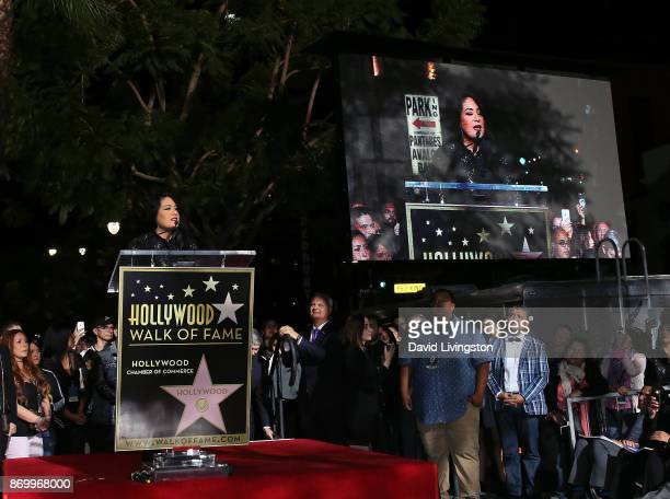 Selena's sister Suzette Quintanilla attends singer Selena Quintanilla being honored posthumously with a Star on the Hollywood Walk of Fame on...