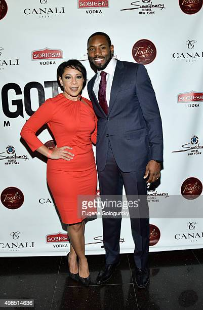 Selenis Leyva and Antonio Cromartie attend the GOTHAM Men's event with host Antonio Cromartie at Tender Restaurant in The Sanctuary Hotel at Tender...