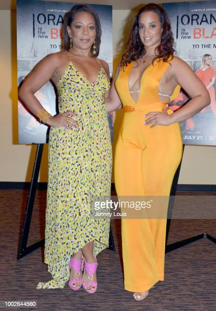 Selenis Leyva and Dascha Polanco attend 'Orange Is The New Black' Netflix TV show screening at Cinepolis Coconut Grove on July 19 2018 in Miami...
