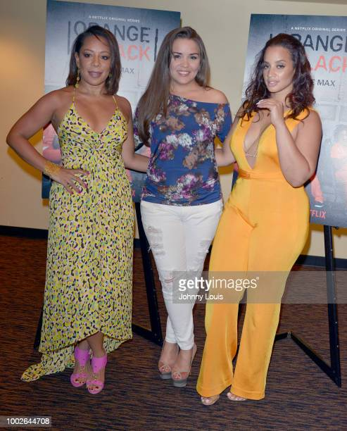 Selenis Leyva Gigi Diaz and Dascha Polanco attend 'Orange Is The New Black' Netflix TV show screening at Cinepolis Coconut Grove on July 19 2018 in...