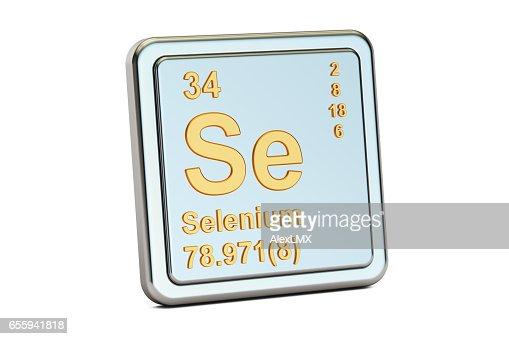 Selenium Se Chemical Element Sign 3d Rendering Isolated On White