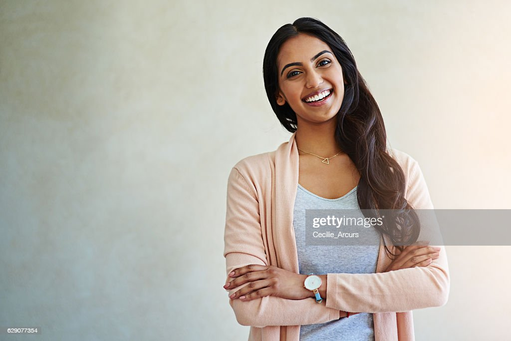Self acceptance goes a long way to being happy : Stock Photo