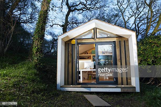 self built office in garden - shed stock pictures, royalty-free photos & images