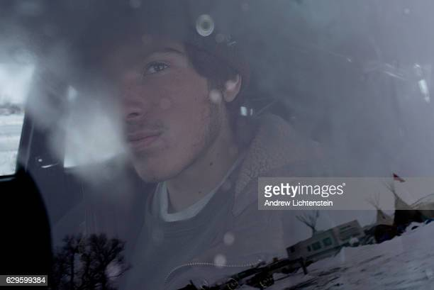 A self described water protector seeks some warmth in his vehicle at the Oceti Sakowin camp Just outside of the Lakota Sioux reservation of Standing...