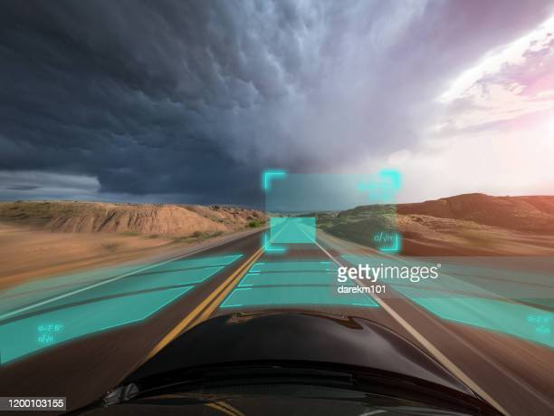 self driving autonomous car driving in bad weather, usa - driverless transport stock pictures, royalty-free photos & images