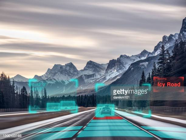 self driving autonomous car driving in bad weather, usa - autonomous technology stock pictures, royalty-free photos & images
