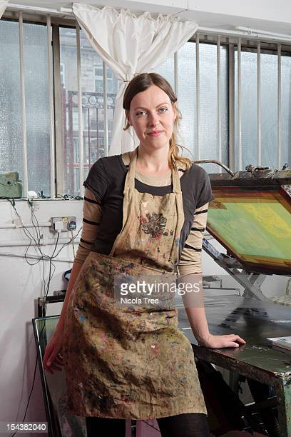 a self employed artist in her studio - artist stock pictures, royalty-free photos & images