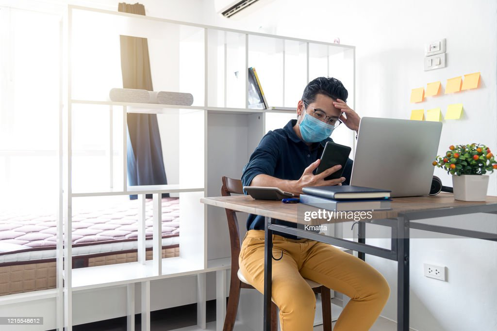 Self isolating at home. : Stock Photo