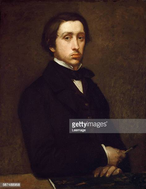 Self portrait or Degas au porte fusain Painting by Edgar Degas Oil on paper mounted on canvas 1855 Orsay Museum Paris