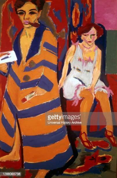 Self Portrait with a Model', 1907 Artist: Ernst Kirchner. Ernst Ludwig Kirchner was a German expressionist painter.