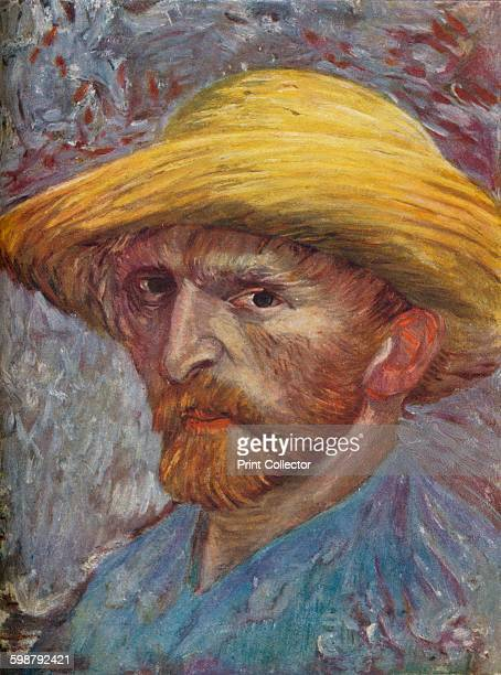 Self Portrait with Straw Hat 1887 Painting held at The Detroit Institute of Arts Michigan From The Outline of Art edited by Sir William Orpen KBE RA...