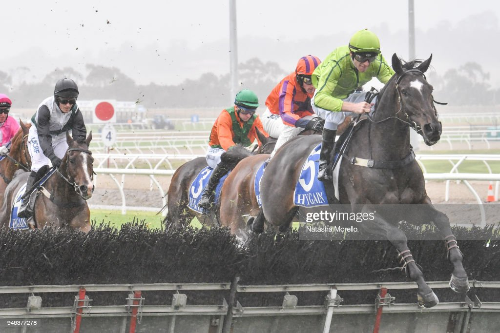 Self Sense ridden Clayton Douglas jumps a hurdle on the first lap in the E-Cycle Solutions Maiden Hurdle at Racing.com Park Racecourse on April 15, 2018 in Pakenham, Australia.