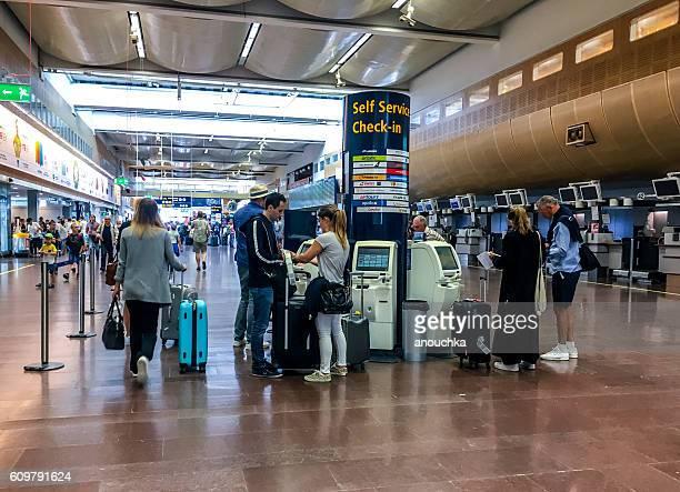 Self service check-in at Arlanda Airport, Stockholm, Sweden